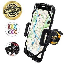 TruActive Anti-Shake Universal Handyhalterung Fahrrad für iPhone X/8/7/6 Plus, Samsung S7/S8/S9 Plus & Allen Handy mit 4,0-6,5 Zoll, Handyhalter für Fahrrad, Motorrad, 360° Drehen - 6 Farben Enthalten