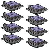 Solar Lights Outdoor, 8 Packs Fence Gutter Solar Lights 40 Led 2W Light Sensing Auto On/Off Solar Powered Lights for Garden, Yard, Fence, Wall, Roof (Cold-white Light)
