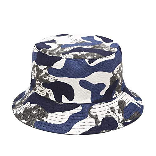 Bucket Hat Chapeau Hommes Casquette De Camouflage Tactique Militaire Seau Chapeaux Casual Unisexe Chasse Randonnée Snapback Chapeau Jungle Casquette De Combat en Plein Air Onesize Bleu