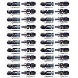 BESTONZON 20 pares Conectores de Cable de Panel Solar Macho / Hembra Conector de Anillo de Sello Impermeable