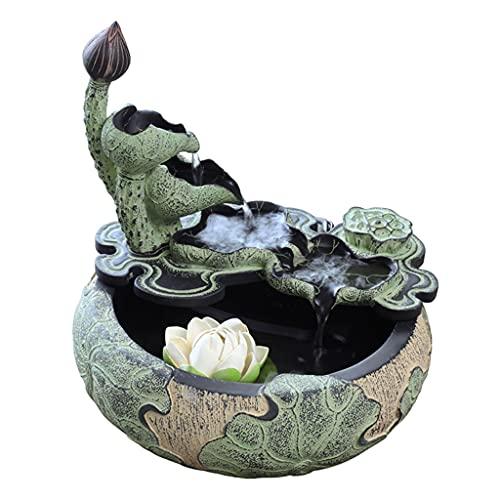 Fuentes de mesa en cascada al aire libre para inte Lotus Tabletop Water Fountain Design, Tablero portátil al aire libre interior Decorativo Zen Meditación Cascada, Decoración de la fuente de agua de e