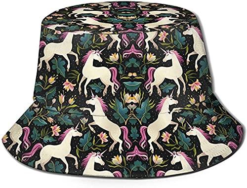 NIUPEE Sombrero de sol plegable visera al aire libre deporte cubo sombrero bailando unicornios viaje playa pescador Cap cómodo ala ancha sombreros unisex negro