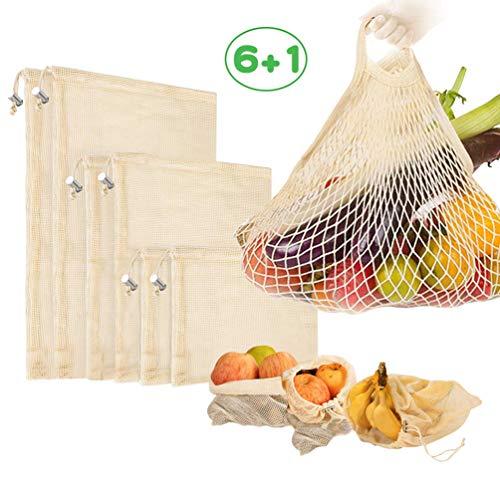 Usetcc Gemüsebeutel Wiederverwendbar, Umweltfreundlich Netz Taschen mit Kordelzug, Mesh Baumwolle Einkaufen für Lagerung und Einkaufs 7 Stück(2S+2M+2L+1 Netz Einkaufstasche)