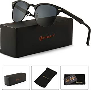 SUNGAIT Classic Half Frame Retro Sunglasses with...