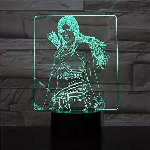 hqhqhq USB 3D LED Luz de Noche Katniss Everdeen Figura Niños Niño Niños Regalos para bebés Luces Decorativas Los Juegos del Hambre Lámpara de Mesa Mesita de Noche con Mando a Distancia -1314