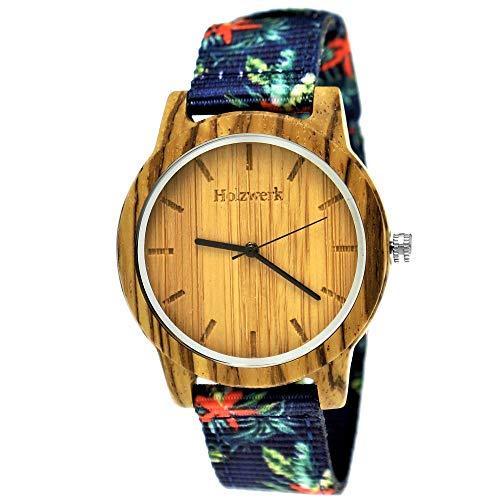 Handgefertigte Holzwerk Germany® Unisex Damen-Uhr Herren-Uhr Sommer Hawaii Blumen Öko Natur-Holz Holz-Uhr Armband-Uhr Analog Holz-Armbanduhr Bunt Blau Rot Braun Textil-Armband Holz-Ziffernblatt