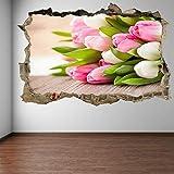 Ramo de flores de tulipanes coloridos pegatinas de arte de pared calcomanía mural decoración del hogar decoración del hogar 60x90 cm