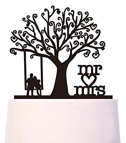 Wedding Cake Topper - Groom and Bride Together Under the Tree Silhouette with Script - Mr & Mrs Engagement Party Decoration, Acrylic, Black