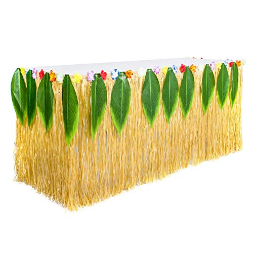 Wifehelper Hawaii Party Decoraties, Tropische Straw Simulatie Blad Gras Rok Hawaii Tafelrok Party Decoratie Tafelkleed Supplies, voor Garden Beach Zomer Tiki BBQ Party Decoraties