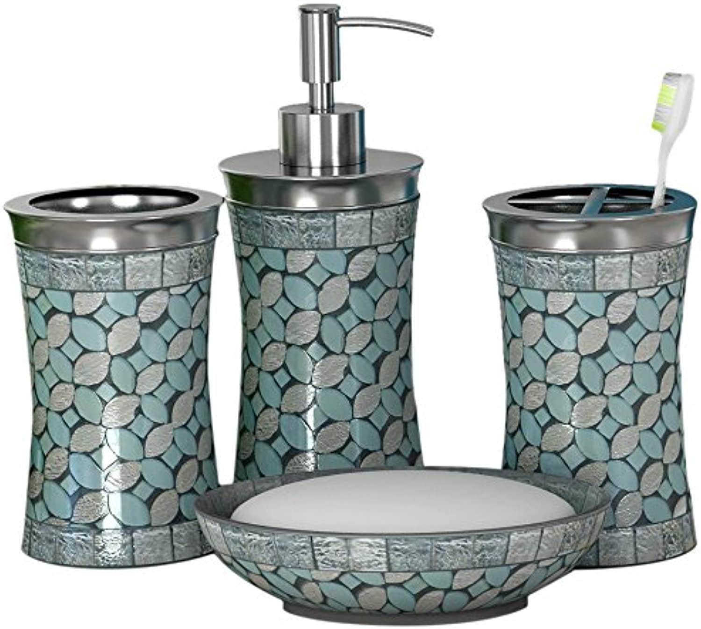 Nu steel NuSteel set 4-Soap Dish, TBH, Tumbler & Lotion Pump Sea Foam Set 4