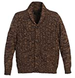 Gioberti Boy's 100% Cotton Knitted Shawl Collar Cardigan Sweater, Brown, Size 7