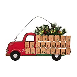 Farmhouse Christmas Decor a red truck countdown to Christmas calendar.