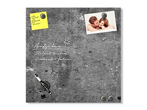 GRAZDesign Schreibtafel Granitoptik, Magnetboard Mauer, Magnettafel Grau, Magnettafel Glas Granit / 50x50cm