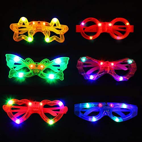 Colmanda Juguetes luminosos, 6 Piezas Gafas LED Favores de Fiesta para Niños, Regalos Fiestas Infantiles Juguetes Luminosos para Niños, Juguetes Luminosos Fiesta para Suministros de Navidad