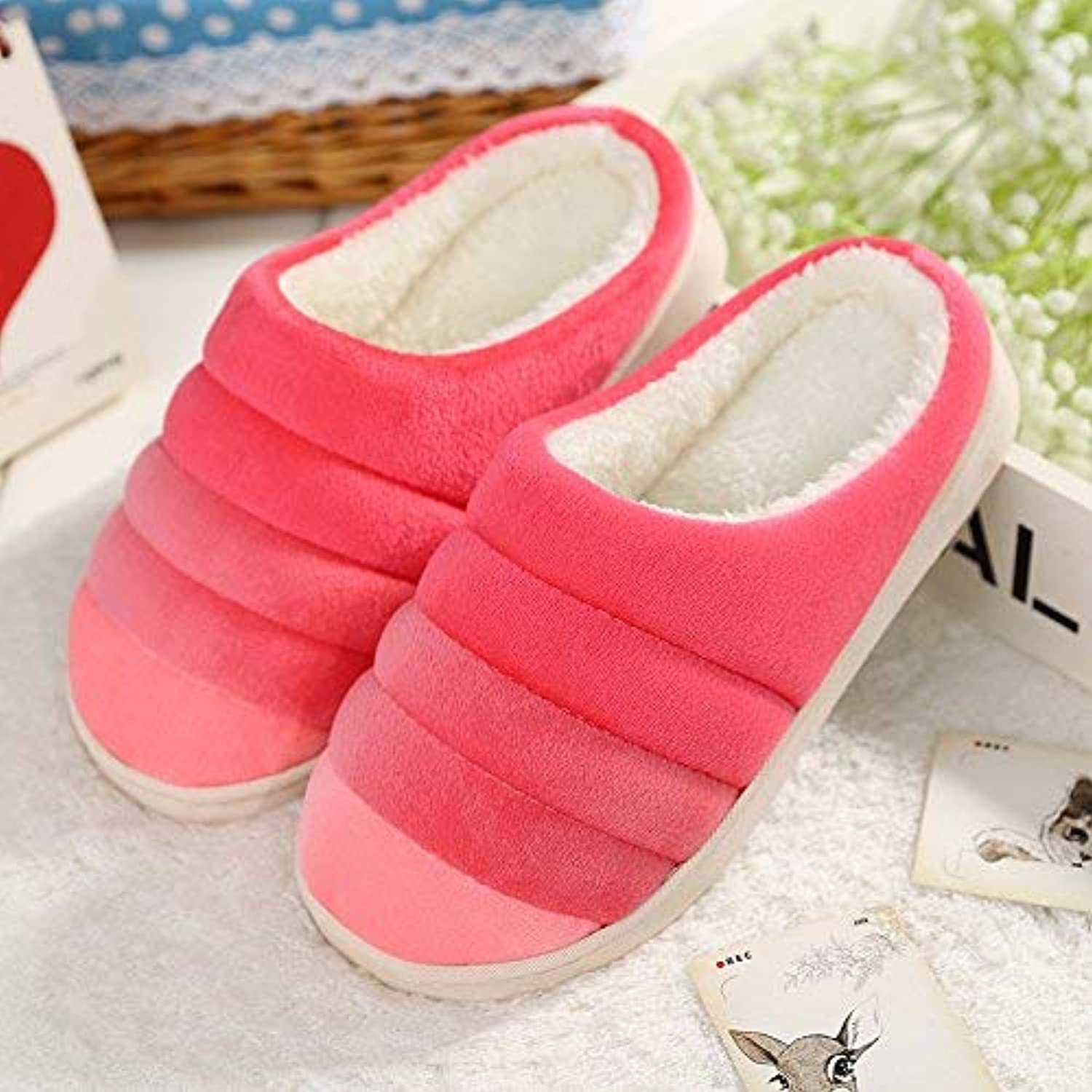 Lady Slippers Women 's Home Cotton Slippers Indoor Keep Warm Soild color Casual Slippers Personality Quality for Women Pink