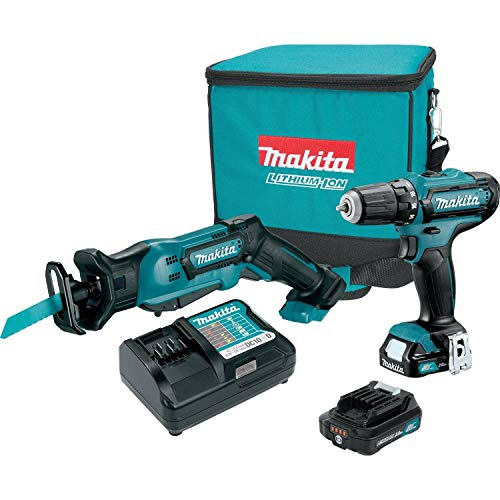 MAKITA CT229R CXT 12V Li-Ion Cordless Driver-Drill/Recip Saw 2-Piece Combo Kit (Renewed)