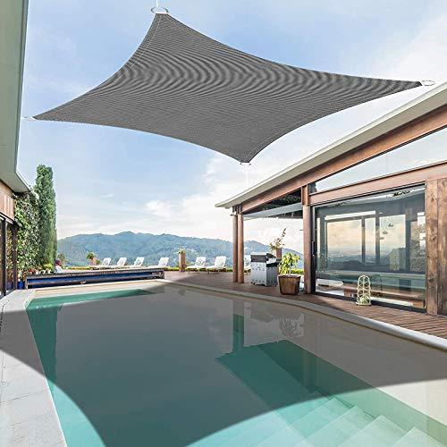 Toldo Vela de Sombra Rectangular 2x3m Impermeable a Prueba de Viento protección UV Transpirable para Patio Exteriores Jardín, Color Arena