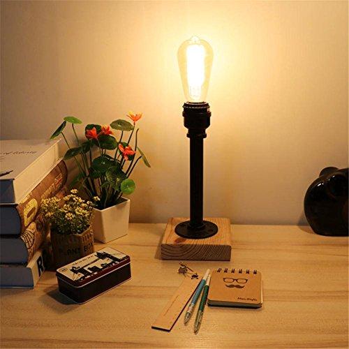 Lampe de Table Industrial Retro Art en bois Tubes d'eau Lampe de table Creative Vintage Desk Light pour salon Chambre Bar Hall Pub Bureaux Café Décoration Lampadaire de toilette, B