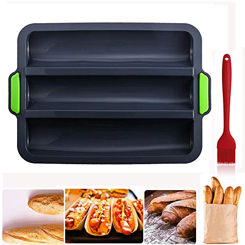 Bandeja de silicona para hornear con 3 baguettes, antiadherente, para pan francés, moldes para hornear, 32 x 24,5 cm