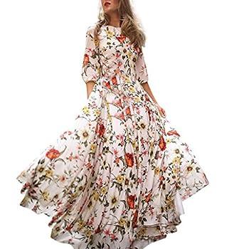 Allegorly Robe Longue Femme Boheme Manche Longue Tunique Col V Fleurie Vintage Chic Elegante Mode Imprimé Florale Maxi Robe de Cocktail Soirée Ceremonie Plage