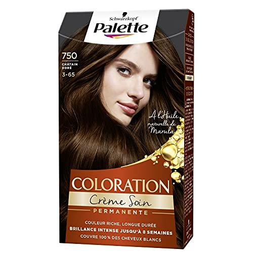 Schwarzkopf - Palette - Coloration Permanente Cheveux - Crème Soin - Couvre 100% des Cheveux Blancs - Tenue 8 semaines - Chatain Doré 750