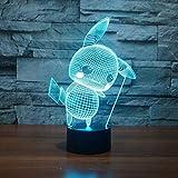 A-Generic 3D Led Pokemon Go Pikachu lámpara de Luces nocturnas Luces nocturnas lámpara de Mesa Mega 7 Colores RGB para niños Regalo Juguetes decoración