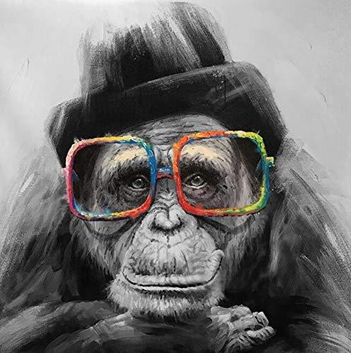 Mono con gafas Carteles e impresiones de lienzo de arte nórdico Pinturas en lienzo de animales en blanco y negro en la pared Imagen de mono 40x40cm Sin marco