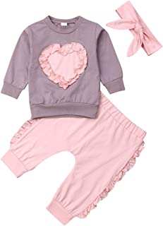Baby Girl Autumn Outfits Set Long Sleeve Sweater Long Trouser Headband Cotton Clothing Set 3 Pieces for 0-24 Months