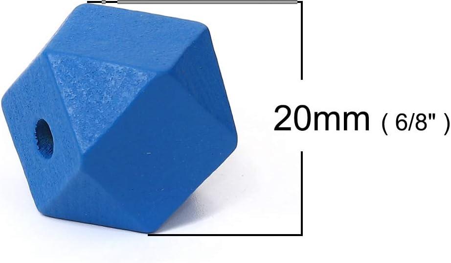 10 St/ück Polygon Holzperlen 20x20mm mit 3,7-4,2mm Loch geometrische Form Blau zum Basteln SiAura Material /®