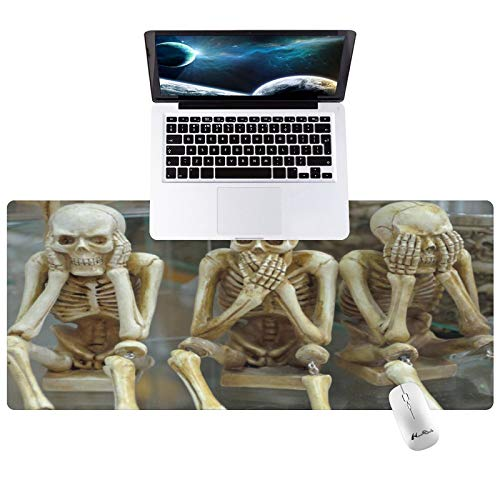Hunthawk Large Desk Mat, Emoji Skull Mouse Pad, Desktop Home Office School Cute Decor Big Extended Pretty Desk Pad for Gaming Laptop Computer Accessories 35.4'x15.7'x0.1'