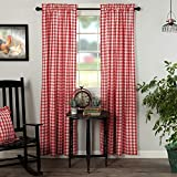 VHC Brands Annie Buffalo Check Panel Set Farmhouse Cotton Window Treatment for Living Room Curtain, 84x40, Red