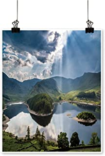 Canvas paintingsun Rays Burst Through Storm Clouds The Lake District Cumbria ENGL Artwork for Living Room Decorations,24