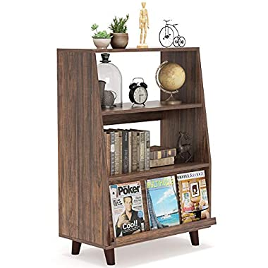 Tribesigns Bookcase, Storage Bookshelf with Sliding Door, Freestanding Display Storage Organizer Units Shelves for Home and Office