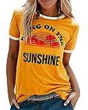 UMIPUBO Camiseta de Mujer Bring On The Sunshine Camiseta Estampada de Manga Corta Suelta de Verano Camisas Casuales Camiseta básica de Cuello Redondo para Mujer (Amarillo, M)