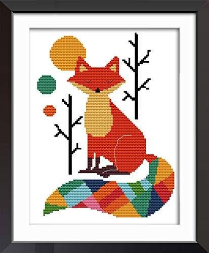 Joy Sunday Cross Stitch Kits 11CT Stamped Seven Color Fox 11'x15' or 28cmx38cm Easy Patterns...