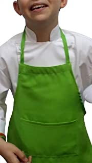 CHEFSKIN Lime Green Medium Lot of 5 Chef Aprons Real Fabric Pocket Lightweight