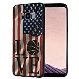 Galaxy S8 Case,American Flag Love Basketball Slim Anti-Scratch Shockproof Leather Grain Soft TPU Back Protective Cover Case for Samsung Galaxy S8