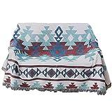 manta sofa,Manta de línea bohemia nórdica del país americano, manta de sofá de algodón indio étnico-130 * 160 cm