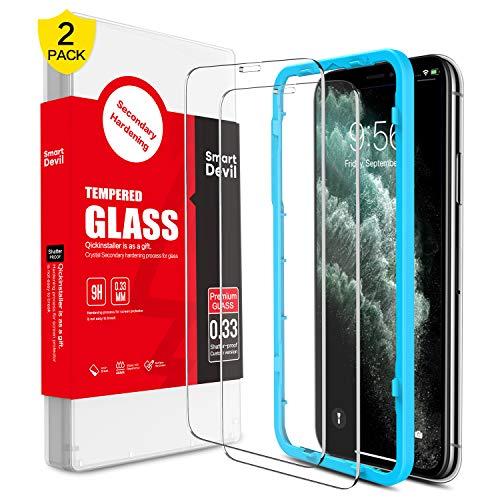 SmartDevil [2 Pack Protector Pantalla de iPhone 11 Pro/iPhone XS/X,Cristal Templado,Vidrio Templado [Fácil de Instalar] [Alta Definicion] [Garantía de por Vida] para iPhone 11 Pro/iPhone XS/X