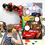 PANTIDE Race Car Toss Game Banner with 4 Bean Bags- Racing Themed Indoor Outdoor Family Party Tossing Activities for Kids Adults, Let's Go Racing Throwing Games Birthday Party Supplies Decor Gift Set