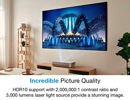 Optoma CinemaX P2 Ultra Short Throw 4K UHD Laser Projector for Home Theater | 3000 Lumens | Superior Image with Laser & 6-Segment Color Wheel | Smart | Integrated Soundbar | Works with Alexa & Google