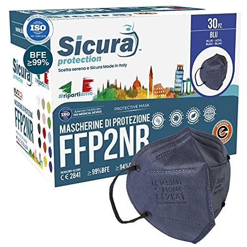 30 mascarillas FFP2 certificadas CE AZUL con elásticos negros SICURA logotipo en relieve BFE ≥99% Fabricado en Italia SANITIZADO y sellado individualmente Certificadas ISO 13485 e ISO 9001