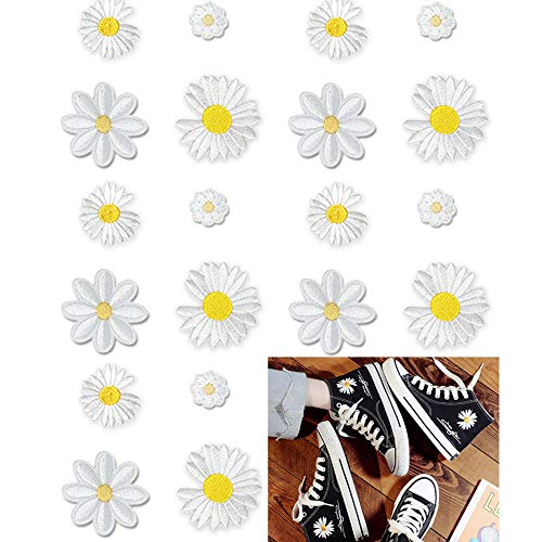Nuluxi Patrón de Flores Parches Termoadhesivos Apliques de Flores Bordadas Vaquero Parches Plancha Termoadhesivos Aplique Pegatina para Ropa de Bricolaje Vestido Jeans Chaqueta Manualidades(20 Piezas)