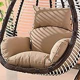 Muebles impermeables al aire libre Patio mimbre cesta colgante silla batiente lágrima gota huevo silla cojín (excluyendo silla) (Khaki)