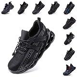 scarpe antinfortunistica uomo donna leggere scarpe da lavoro con punta in acciaio traspiranti sportive sicurezza scarpe nero blu grigio taglia 36-48 eu nero 45