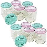 com-four® 12x Einmachgläser mit Schraub-Deckel'Made with love' in grün und rosa - TO Ø 82 mm - bis zu 425 ml