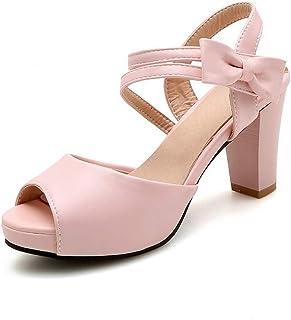 BalaMasa Womens ASL06396 Pu Block Heels
