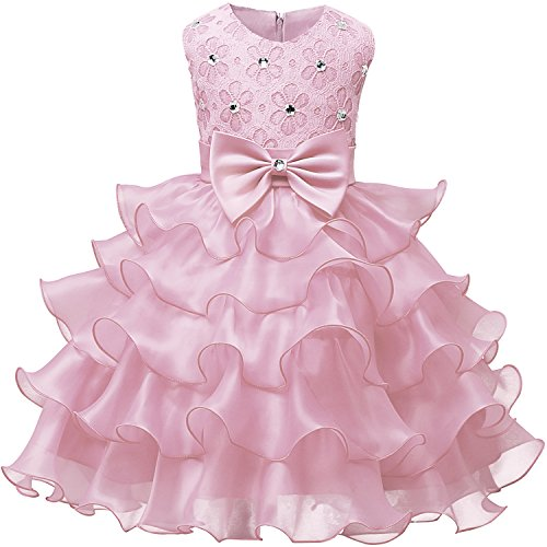 NNJXD Mädchen Kleid Kinder Rüschen Spitze Party Brautkleider Größe(110) 3-4 Jahre Rosa