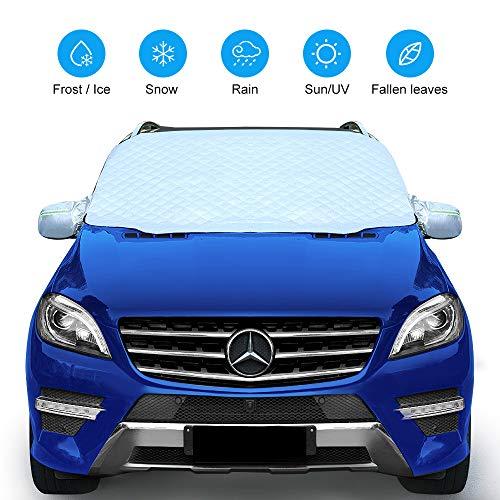 QUEES Frontscheibenabdeckung, Auto Windschutzscheibe Abdeckung Magnetische Scheibenabdeckung Mit Zwei Spiegelabdeckungen Faltbare für EIS Schneeschutz