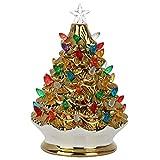 T-REASURE Mini Vintage Christmas Ceramic Tree, Mini Lighted Christmas Tree with Multicolored Lights, Pre-Lit Holiday Centerpiece Retro Winter Tree Tabletop Christmas Decor